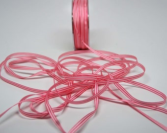 Striped Ribbon -- 3/16 inch -- Pink White