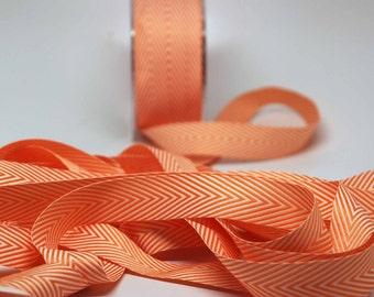 Striped Chevron Twill Ribbon -- 3/4 inch -- Orange Dreamsicle White