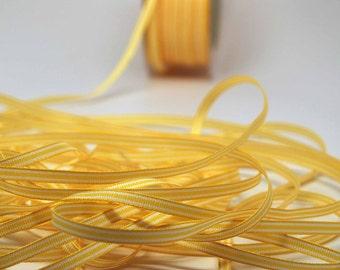 Striped Ribbon -- 3/16 inch -- Lemon Meringue White