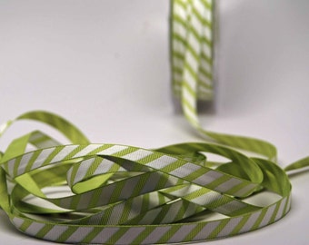 Lime Margarita Stripe Ribbon -- 3 / 8 Inch -- Lime Green White Stripe