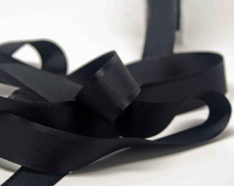 Grosgrain Ribbon With Satin Edge -- 1 Inch Wide -- Coal Black