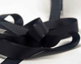 Grosgrain Ribbon With Satin Edge -- 1 Inch Wide -- Coal Black