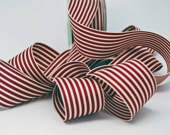 Striped Grosgrain Ribbon -- 1.5 inches -- Burgundy Cream