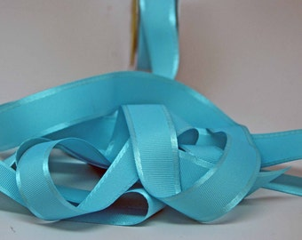 Grosgrain Ribbon With Satin Edge -- 1 Inch Wide -- Light Turquoise Blue