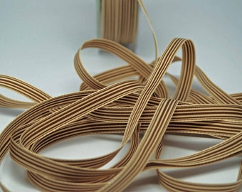 Striped Grosgrain Ribbon -- 3 / 8 inches -- Caramel Creme
