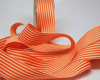Striped Grosgrain Ribbon -- 1.5 inches -- Orange Cream