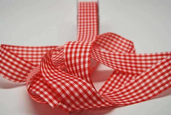 SALE Solid Check Ribbon -- 1.5 inches -- Red White
