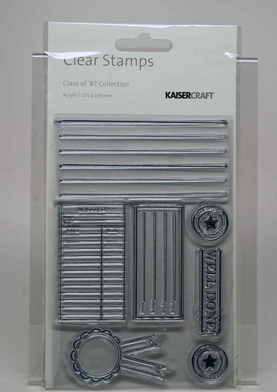 KaiserCraft Class of 87 Collection Clear Stamps -- Acrylic -- Back to School Journal Ribbon Award