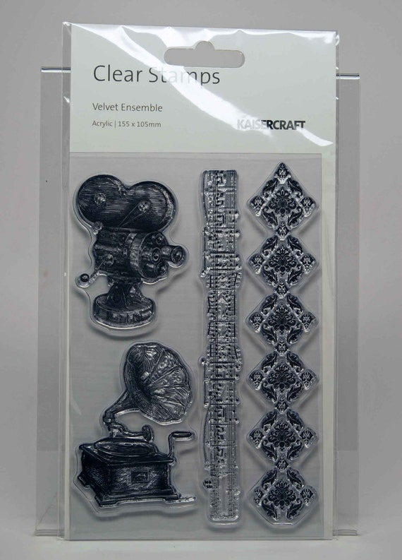 KaiserCraft Velvet Ensemble Collection Clear Stamps -- Acrylic -- Vintage Film Theatre Music