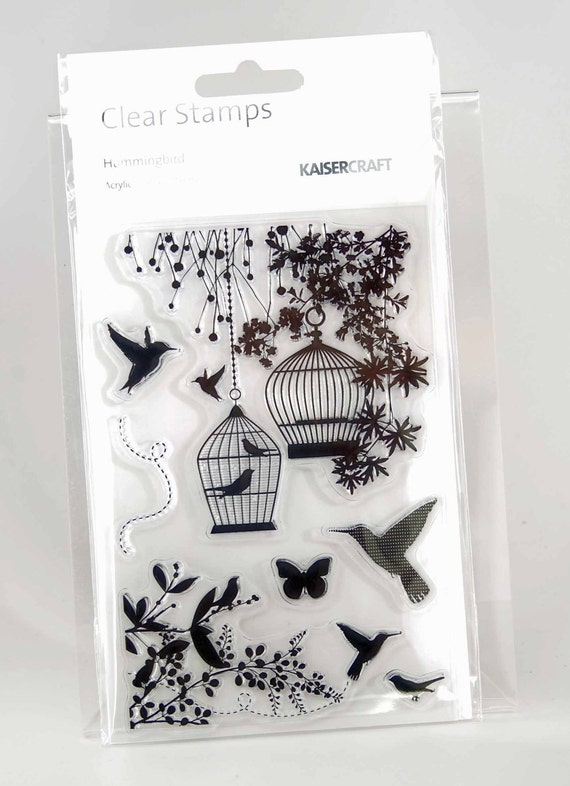 KaiserCraft Hummingbird Collection Clear Stamps -- Acrylic -- Hummingbirds Bird Cages Butterfly Bird on Branch Corner Stamp