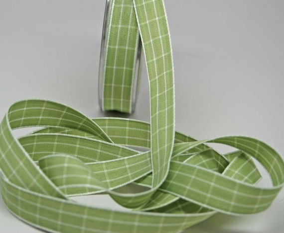 Grid Check Ribbon 5/8 inch -- Sage Green -- Light Medium Green White