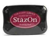 StazOn - high quality solvent-based ink - Blazing Red  - Acid-Free, Archival (Free shipping with another purchase)