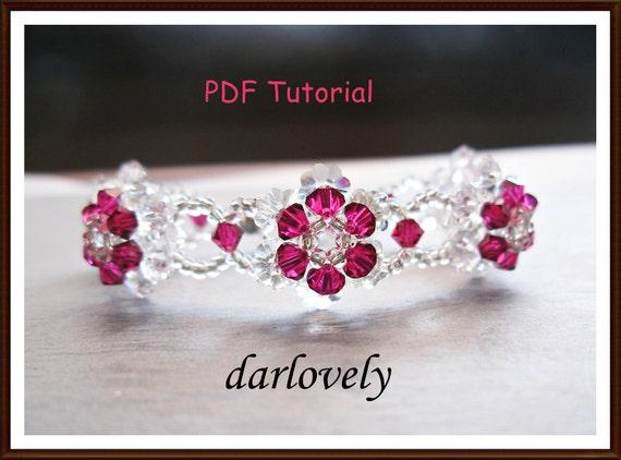 Items similar to Beaded Bracelet Pattern  Swarovski Ruby