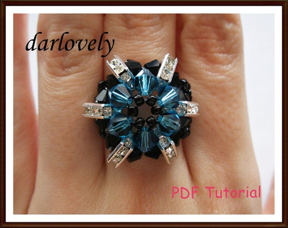Swarovski Black Indicolite Flower Ring (RG027) - PDF Tutorial