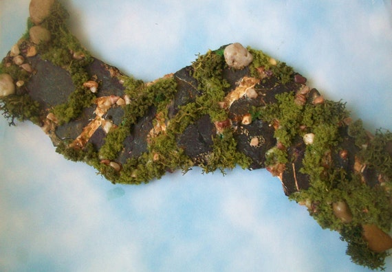 Mini Flagstone Fairy Path Terrarium Gnome Garden Walk with Pebbles, Moss and Gravel, 8.5 inches L x 2.5 inches wide Item GP05