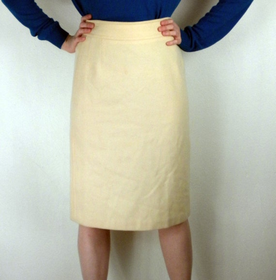 vintage 60s pencil skirt wool camel by vintageedition