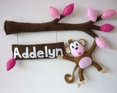 Cheeky Little Monkey in the Pink Tree - Personalized Bedroom Door Sign or Wall Art