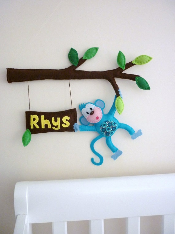 Cheeky Little Monkey - Personalized Bedroom Door Sign or Wall Art