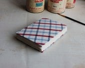 Checkered coptic journal // blue and red // large