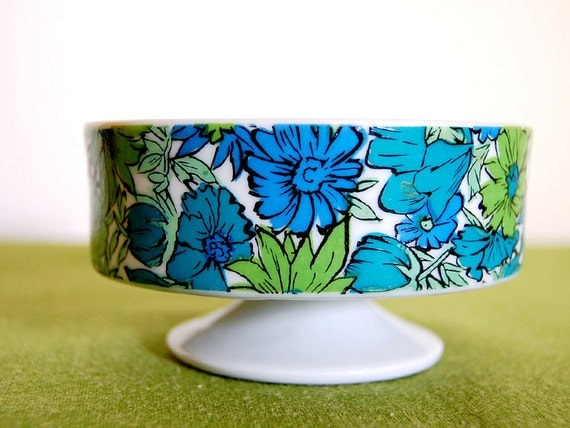Retro 1960s Blue and Green Floral Candy Dish