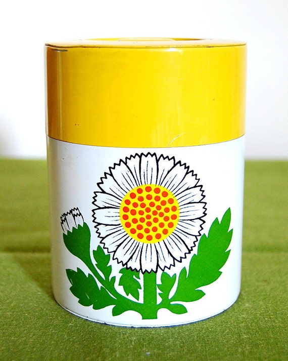 Vintage Daisy Floral Cheery Yellow Metal Tin Canister
