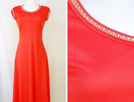 SALE // Rhinestone Disco Gown Red Orange Maxi Dress S/M