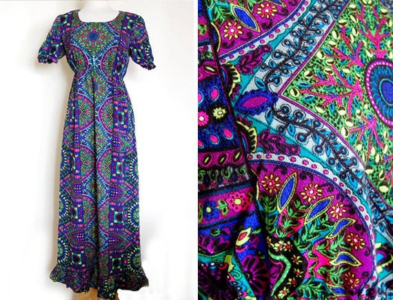 Psychedelic 1960s 60s Vintage Art Maxi Dress Purple Blue Size S/M