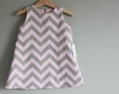 new  Pink Grey Chevron dress custom 6m, 12m, 2t 3t 4t 5t 6t fully lined zip back