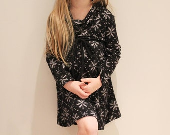 SALE Snowflake Cowl Dress 12m  3T 4T/5T Black grey sweater knit LIMITED