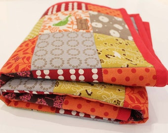 OOAK baby quilt blanket playmat SPICES japanese red grey gray organic ready to ship ONLY 1