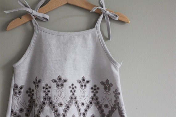 SALE Embroidered Linen tank stone grey  18m   top shirt blouse ready to ship LAST ONE
