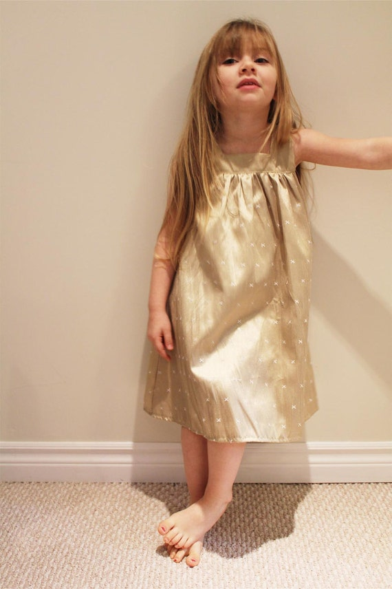 NEW gold silk embroidered swing dress   6T 7t LIMITED (only 1 left)