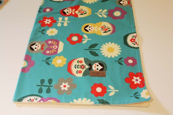 Modern matryoshka doll BLUE baby blanket organic flannel cotton LIMITED (only 1 left) swaddle blanket quilt