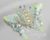 Vintage Butterfly Brooch Celluloid or Lucite Aurora Borealis Crystal