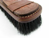 Carved Leather Brush with Buckled Strap