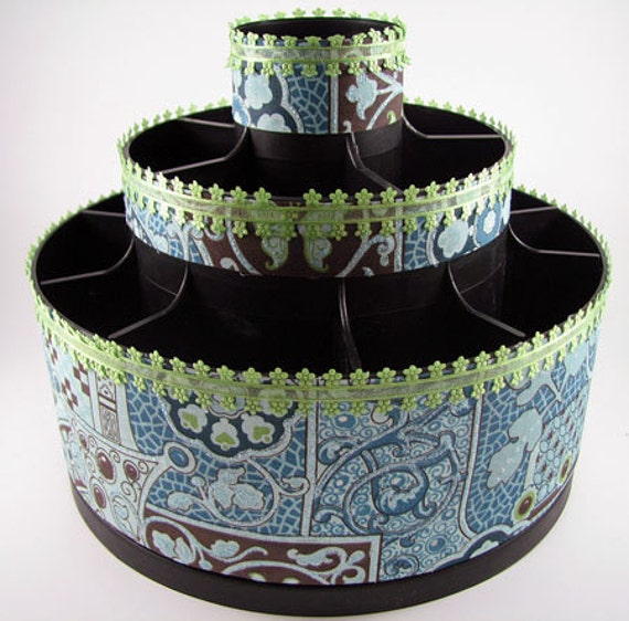 Paisley style Blue and Green Altered Tool Caddy Storage Organizer
