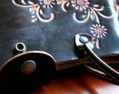 Unique Leather Purse Tooled Handstamped and Painted Floral Detail- Bohemian Rhapsody