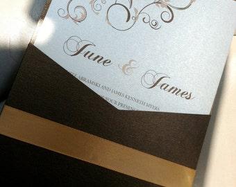 Gold and Chocolate Swirls Invitation