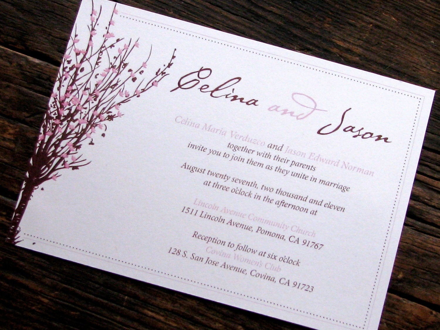 Custom Wedding Invitation Cherry Blossom Three