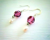 Pink Fire Polish and Freshwater Pearl Earring