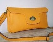 Leather Clutch Purse Shoulder Crossbody Bag Tal in Yellow