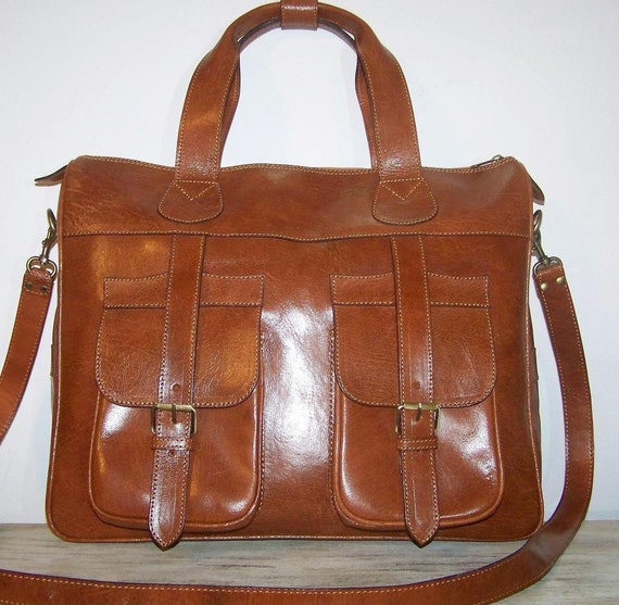 Leather travel bag sport bag tote laptop bag Tom in dark tan fits a15 inches laptop Unisex