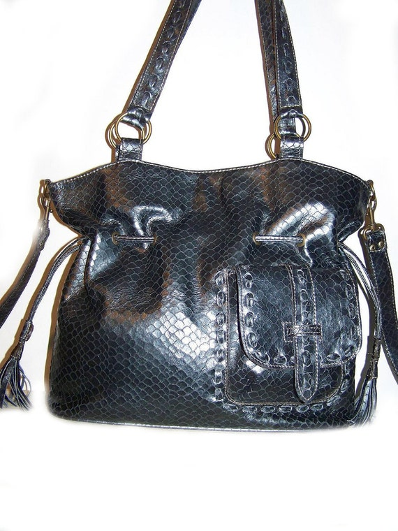 Leather Handbag Tote Shoulder Cross-body Bag Sia in in snake print metallic blue-gray  SALE