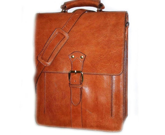 Leather Briefcase Laptop Bag Shoulder Bag Messenger Elie XXL in tan fits a 17 inches 15 inches laptop