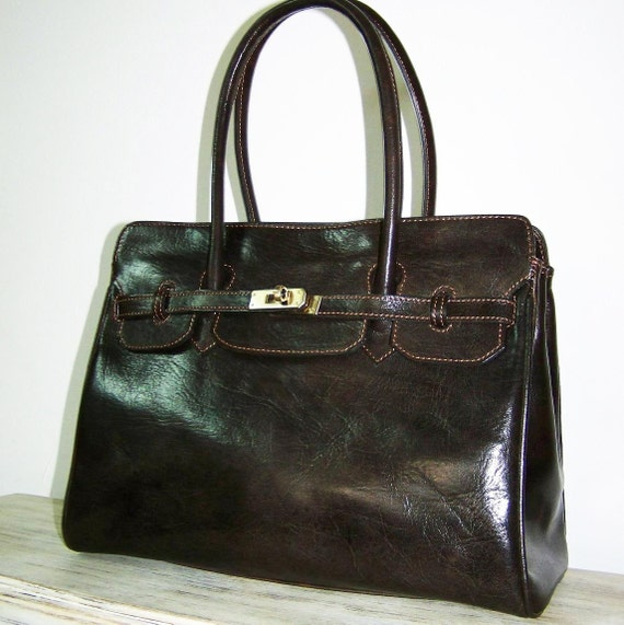 DARK BROWN Leather Handbag Purse Cross-body Bag Iris