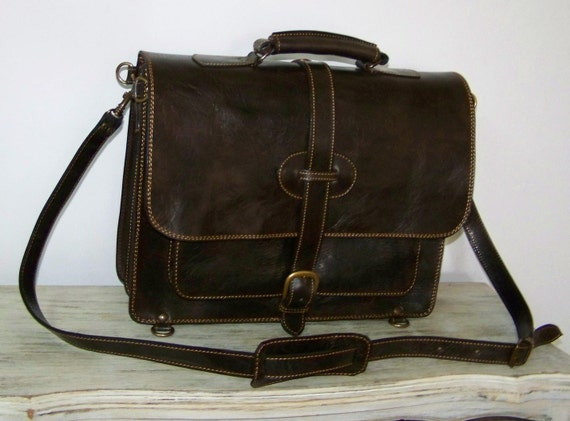 Leather messenger backpack laptop bag Samuel XL in dark brown fits a 15 and 13 inches laptop SALE