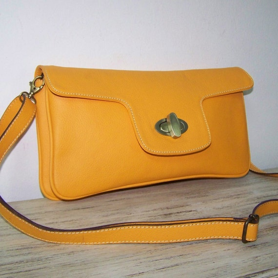 Leather Clutch Purse Shoulder Crossbody Bag Tal in Yellow