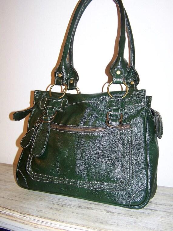 Dark Green Leather purse handbag shoulder bag Rina mini/ SALE
