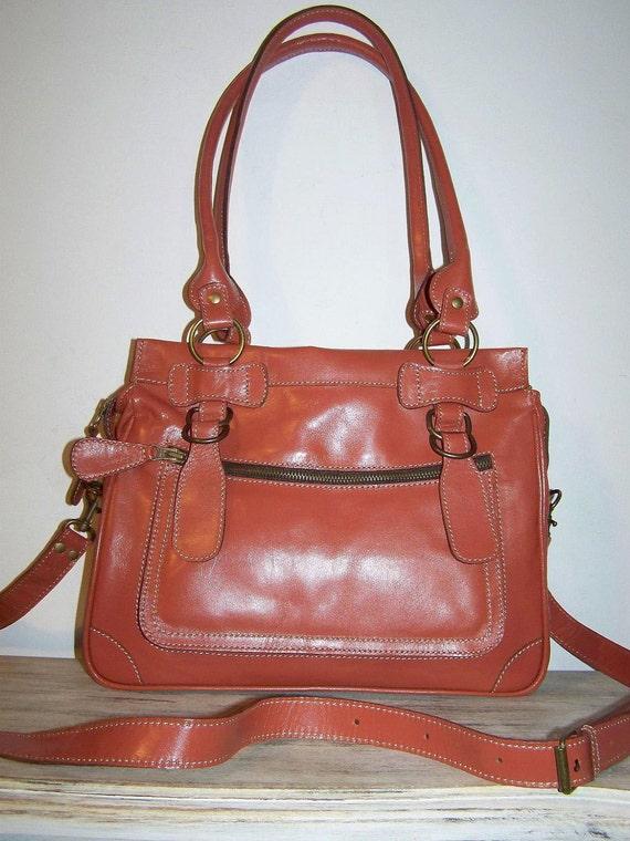 Leather purse handbag shoulder cross-body bag Rina mini in glossy firebrick SALE