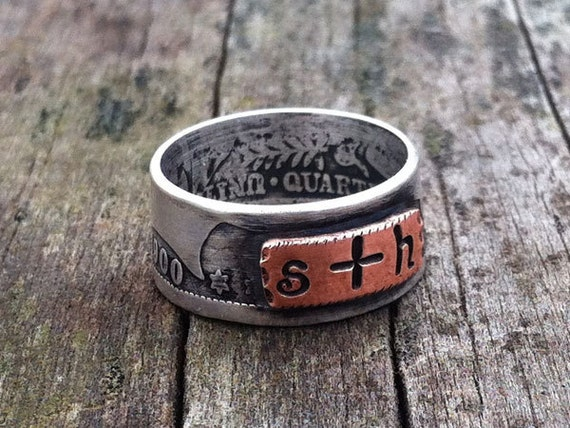 Personalized custom stamped silver coin and copper band ring US Barber quarter dollar